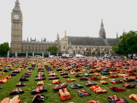 Parliament Square transformed into a 'graveyard of lifejackets' to highlight dangers for refugees