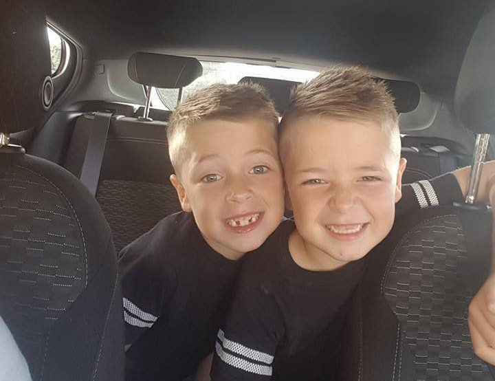 (L-R) Logan and Regan Skinner, 6 who both had leukaemia. See Masons copy MNTWINS: A loving mother is celebrating after her twin boys ended four years of intensive treatment for leukaemia. Logan and Regan Skinner, six, developed the devastating disease within a year of each other after their skin started to go yellow and began bruising easily. Both were later diagnosed with Acute Lymphoblastic Leukaemia which attacks the bone marrow, progresses rapidly and requires urgent treatment. Doctors put them on an intensive course of chemotherapy course this year which Logan has ended and Regan is due to finish next month.
