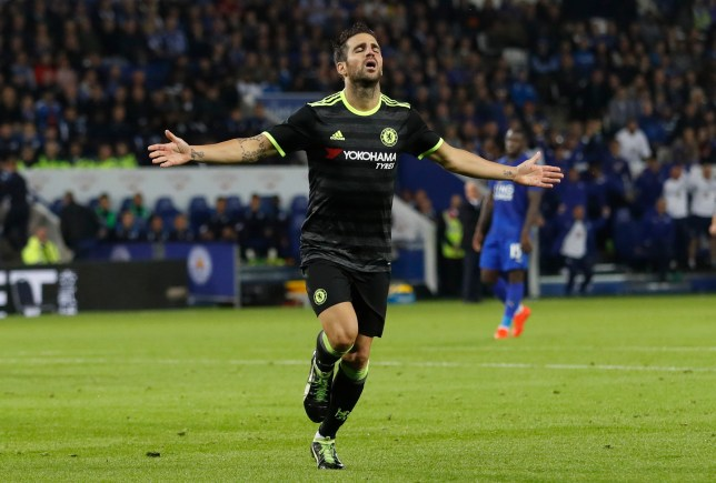 "Britain Football Soccer - Leicester City v Chelsea - EFL Cup Third Round - King Power Stadium - 20/9/16 Chelsea's Cesc Fabregas celebrates scoring their third goal Action Images via Reuters / Carl Recine Livepic EDITORIAL USE ONLY. No use with unauthorized audio, video, data, fixture lists, club/league logos or ""live"" services. Online in-match use limited to 45 images, no video emulation. No use in betting, games or single club/league/player publications. Please contact your account representative for further details."