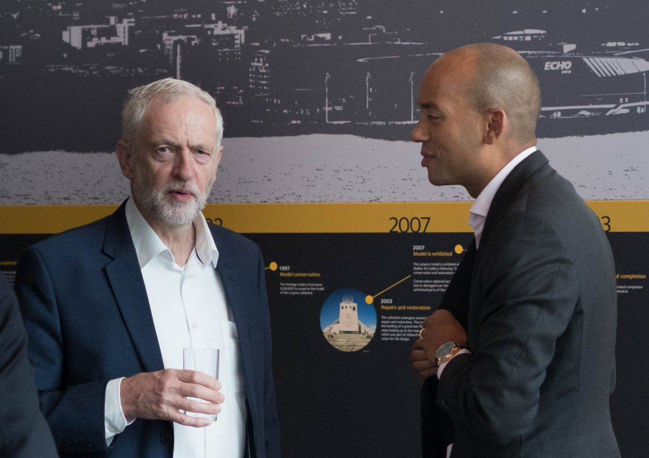 Labour leader Jeremy Corbyn and Chuka Umunna MP meet backstage before appearing on the BBC1 current affairs programme, The Andrew Marr Show, at the Museum of Liverpool at the start of the Labour Party annual conference. PRESS ASSOCIATION Photo. Picture date: Sunday September 25, 2016. See PA story LABOUR Main. Photo credit should read: Stefan Rousseau/PA Wire