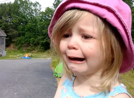 Adorable little girl sobs as her siblings leave for school