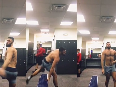 Guy's incredible Britney Spears routine in changing room gets rudely interrupted