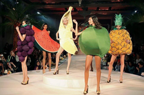 Models were dressed as fruit at the wonderfully mad Charlotte Olympia LFW show