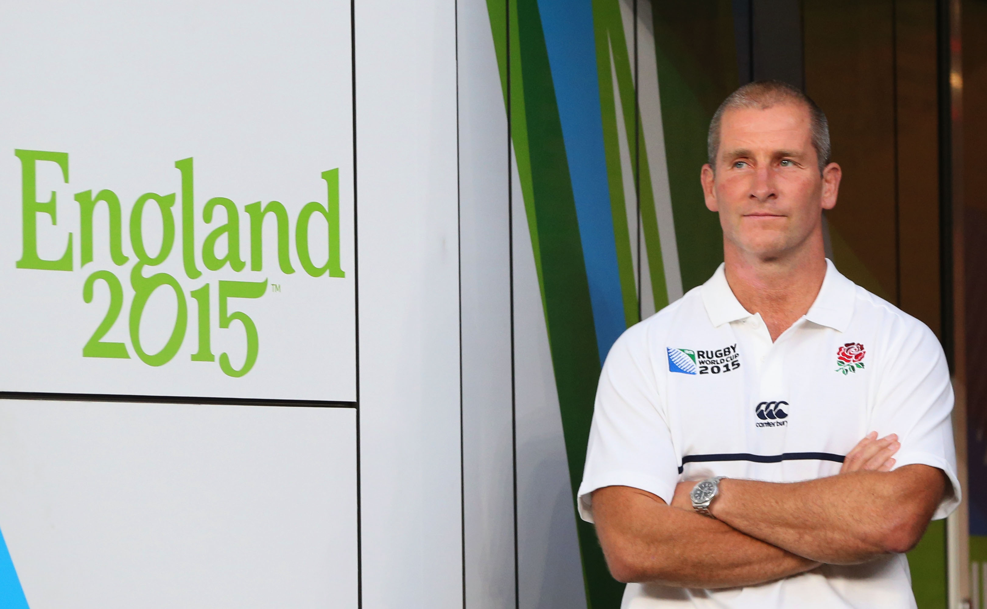 LONDON, ENGLAND - SEPTEMBER 18: Stuart Lancaster the head coach of England looks on during the 2015 Rugby World Cup Pool A match between England and Fiji at Twickenham Stadium on September 18, 2015 in London, United Kingdom. (Photo by David Rogers/Getty Images)