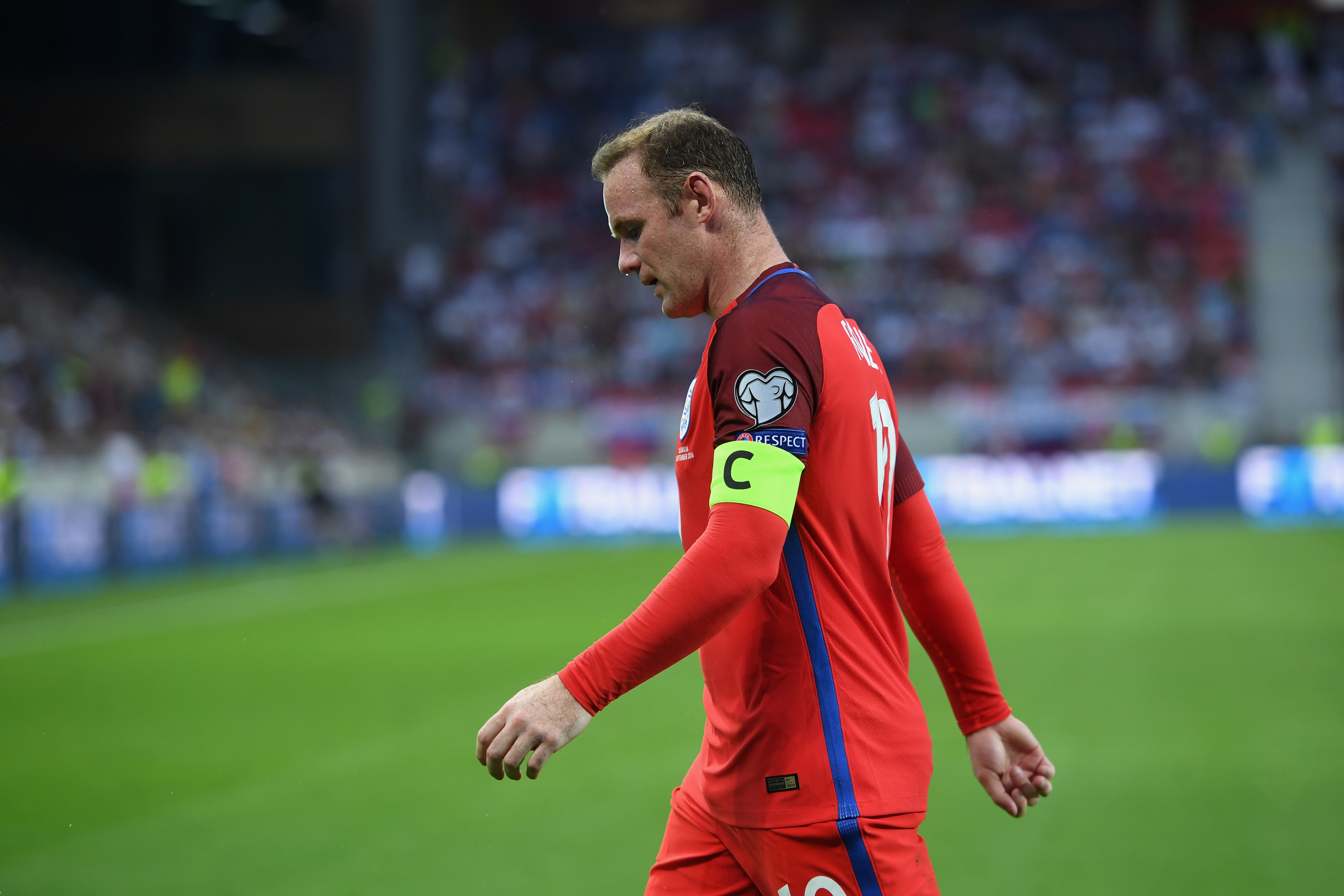 TRNAVA, SLOVAKIA - SEPTEMBER 04: Wayne Rooney of England looks on during the 2018 FIFA World Cup Group F qualifying match between Slovakia and England at City Arena on September 4, 2016 in Trnava, Slovakia. (Photo by Michael Regan - The FA/The FA via Getty Images)