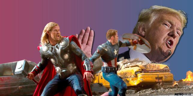 Avengers unite against Donald Trump picture: rex - Credit: METRO/mylo