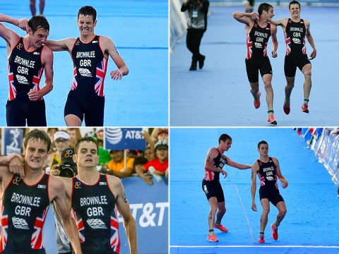 Jonny Brownlee helped over the line by brother Alistair in heartbreaking finish