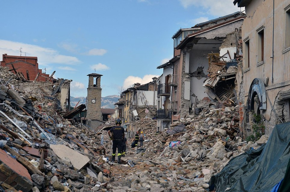 pic - rex Mandatory Credit: Photo by Gianluca Vannicelli/REX/Shutterstock (5895958ag) Aftermath of earthquake Aftermath of earthquake in Amatrice, Italy - 08 Sep 2016