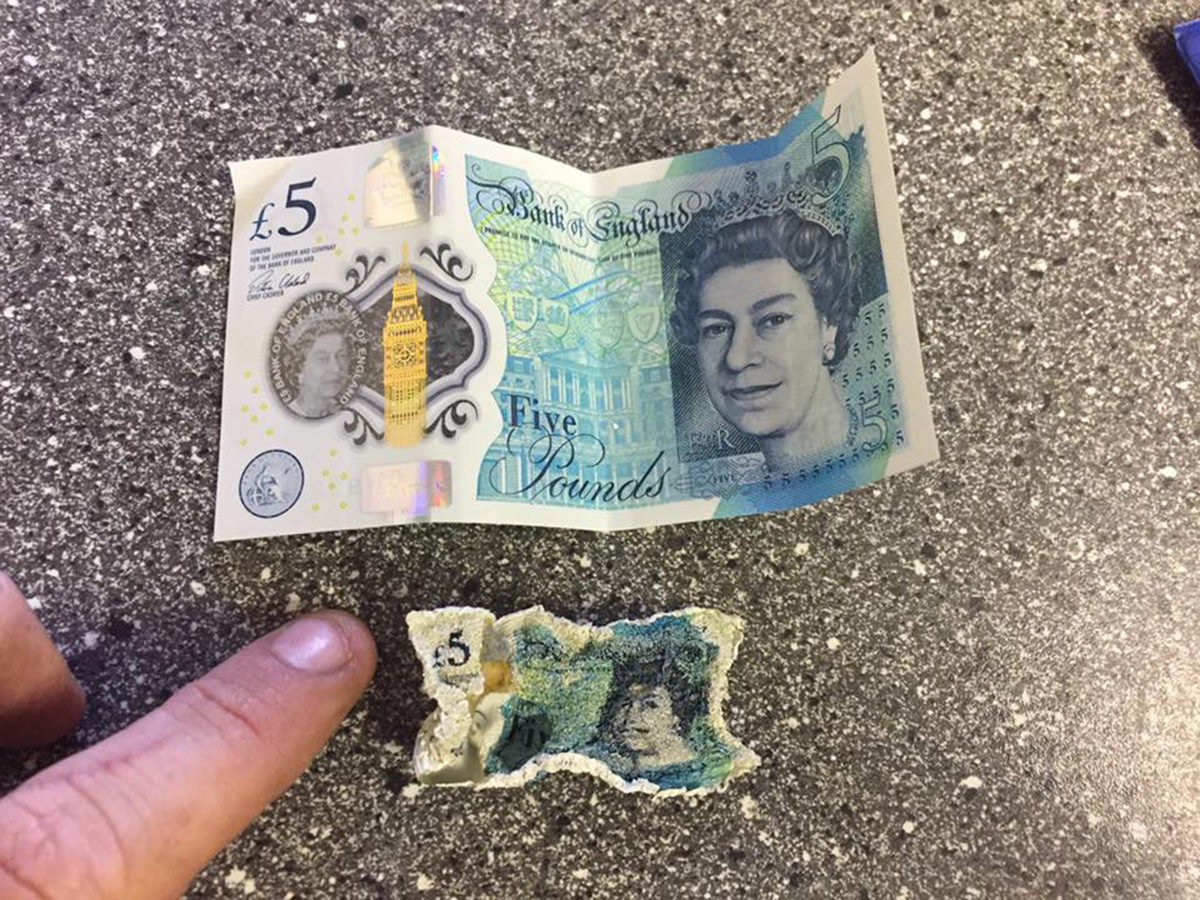 It looks like the £5 notes aren't completely indestructable Credit: Facebook/Crimewatch Basildon/Gemma Louise Richards