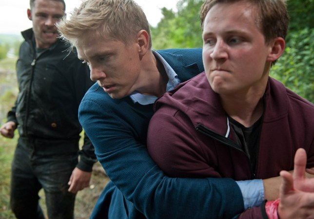 FROM ITV STRICT EMBARGO - NO USE BEFORE TUESDAY 11 OCTOBER 2016                                 Emmerdale - Ep 7643 Monday 17 October 2017 As a nervous Robert Sugden RYAN HAWLEY prepares to propose to Aaron Dingle DANNY MILLER he's stopped in his tracks by Lachlan White THOMAS ATKINSON who is suspicious of his relationship with Rebecca and threatens he will pretend he sexually abused him. Furious Aaron overhears and bundles Lachlan in his boot. But when Lachlan later fleas, Aaron and Robert take chase edging near a cliff... Will Robert ever get to propose to the man he loves or will their journey take a more sinister turn?  Picture contact: david.crook@itv.com on 0161 952 6214 Photographer - Amy Brammall This photograph is (C) ITV Plc and can only be reproduced for editorial purposes directly in connection with the programme or event mentioned above, or ITV plc. Once made available by ITV plc Picture Desk, this photograph can be reproduced once only up until the transmission TX date and no reproduction fee will be charged. Any subsequent usage may incur a fee. This photograph must not be manipulated excluding basic cropping in a manner which alters the visual appearance of the person photographed deemed detrimental or inappropriate by ITV plc Picture Desk. This photograph must not be syndicated to any other company, publication or website, or permanently archived, without the express written permission of ITV Plc Picture Desk. Full Terms and conditions are available on the website www.itvpictures.com