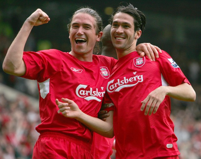 MANCHESTER, UNITED KINGDOM - APRIL 22: Luis Garcia of Liverpool (right) celebrates with teammate Harry Kewell during the FA Cup Semi-Final match between Chelsea and Liverpool at Old Trafford on April 22, 2006 in Manchester, England. (Photo by Tommy Hindley/Professional Sport/Popperfoto/Getty Images)