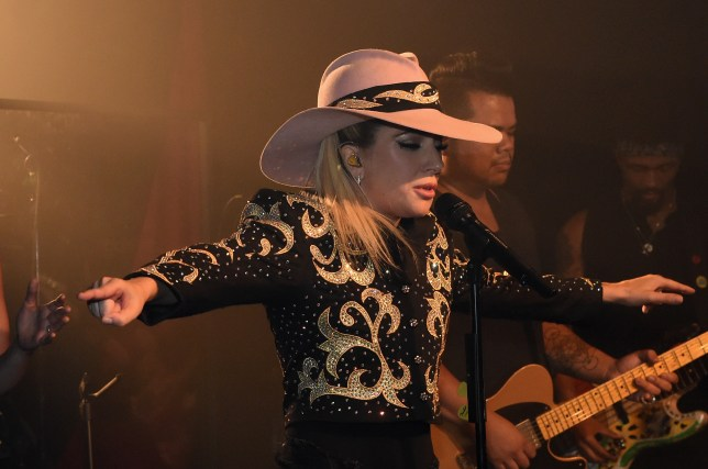 """NASHVILLE, TN - OCTOBER 05: Lady Gaga surprises fans while on the Bud Light x Lady Gaga Dive Bar Tour at the 5 Spot where the singer performed three new tracks off her upcoming album """"Joanne"""" on October 05, 2016 in Nashville, Tennessee. (Photo by Rick Diamond/Getty Images for Bud Light)"""