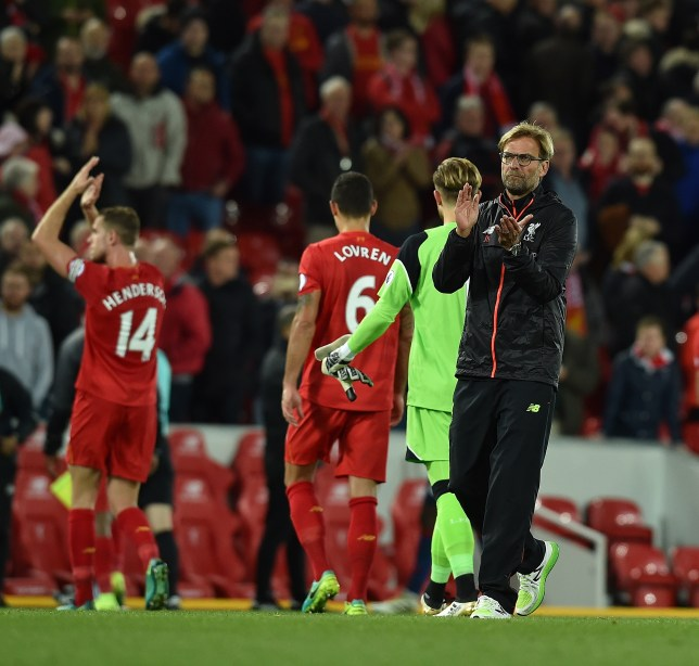 LIVERPOOL, ENGLAND - OCTOBER 17: (THE SUN OUT, THE SUN ON SUNDAY OUT) Jurgen Klopp Manager of Liverpool at the end of the Premier League match between Liverpool and Manchester United at Anfield on October 17, 2016 in Liverpool, England. (Photo by Andrew Powell/Liverpool FC via Getty Images)