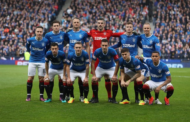 GLASGOW, SCOTLAND - OCTOBER 23: Rangers pose for a team photograph during the Betfred Cup Semi Final match between Rangers and Celtic at Hampden Park on October 23, 2016 in Glasgow, Scotland. (Photo by Ian MacNicol/Getty Images)