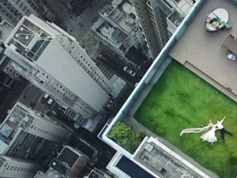 Photographer accidentally captures the most epic wedding photo with his drone