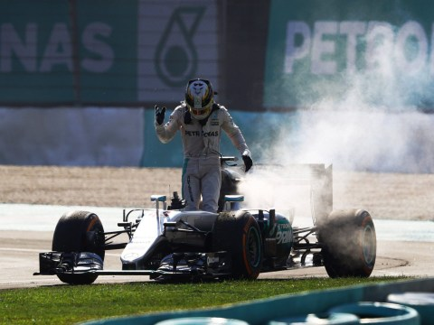 Lewis Hamilton slams Mercedes after his engine catches on fire in Malaysian Grand Prix