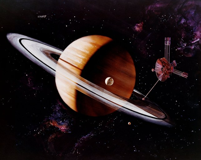 1st September 1979: An artist's impression of the Pioneer probe emerging from the shadow of Saturn, after photographing the planet and its moon, Titan. Original Artwork: Painting by Rick Guidice, NASA. (Photo by Space Frontiers/Space Frontiers/Getty Images)