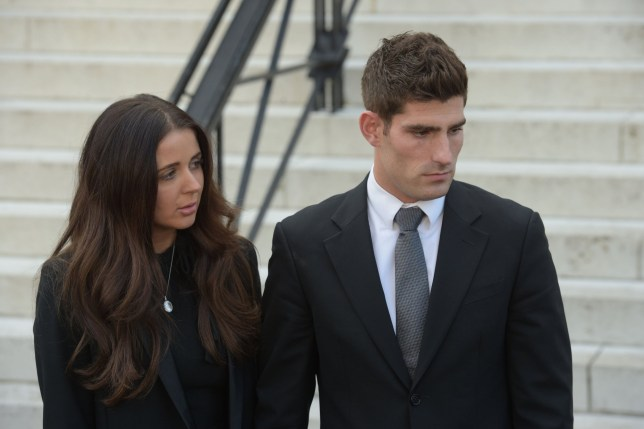 Footballer Ched Evans and partner Natasha Massey outside Cardiff Crown Court, where he has been found not guilty of raping a teenager in a hotel in north Wales following a two week retrial. PRESS ASSOCIATION Photo. Picture date: Friday October 14, 2016. See PA story COURTS Evans. Photo credit should read: Ben Birchall/PA Wire