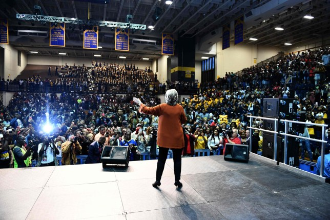 TOPSHOT - US Democratic presidential nominee Hillary Clinton speaks during a homecoming rehearsal at the North Carolina A&T university in Greensboro, North Carolina, on October 27, 2016. / AFP PHOTO / JEWEL SAMADJEWEL SAMAD/AFP/Getty Images