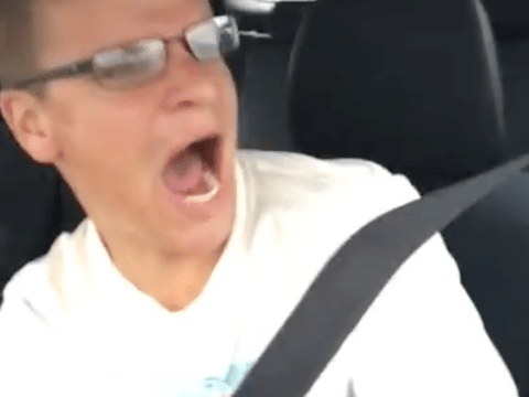 A driver filming himself singing captures the moment he crashes his car