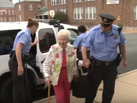 102-year-old Edie crosses 'getting arrested' off her bucket list