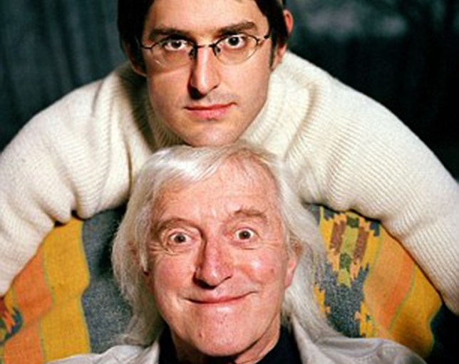 Jimmy Savile with Louis Theroux (top) 15 years ago (Picture: BBC)