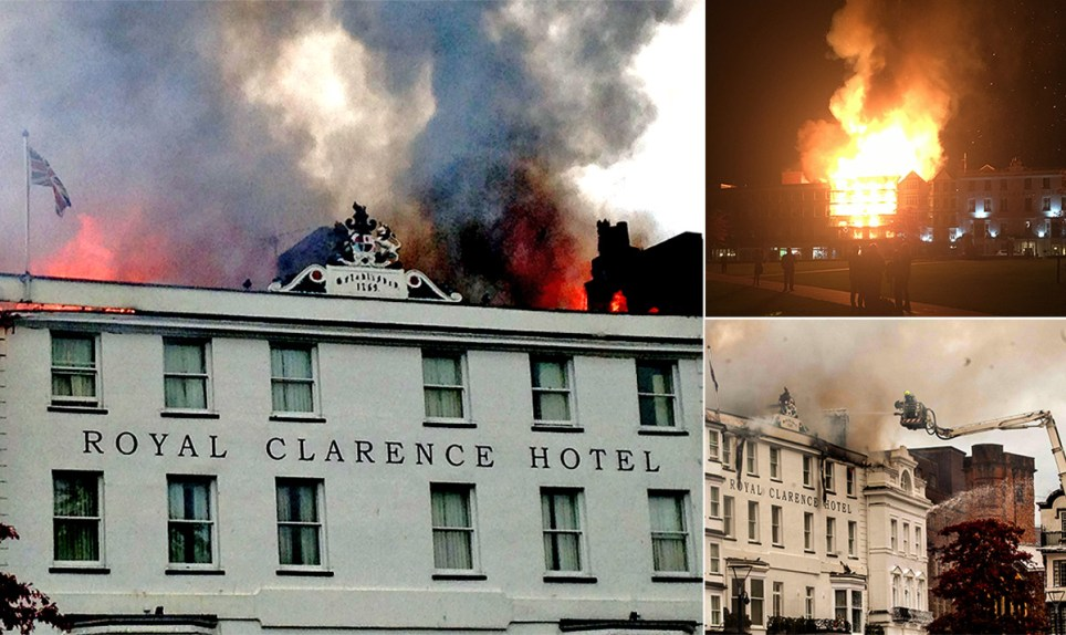 Credit: PA; Apex; SWNS Devon & Somerset Fire & Rescue Service handout photo of firefighters tackling a blaze at Royal Clarence Hotel in Exeter. PRESS ASSOCIATION Photo. Issue date: Friday October 28, 2016. The fire is believed to have started at an art gallery in Exeter city centre but has now spread to the nearby hotel. See PA story FIRE Exeter. Photo credit should read: Devon & Somerset Fire & Rescue Service/PA Wire NOTE TO EDITORS: This handout photo may only be used in for editorial reporting purposes for the contemporaneous illustration of events, things or the people in the image or facts mentioned in the caption. Reuse of the picture may require further permission from the copyright holder.