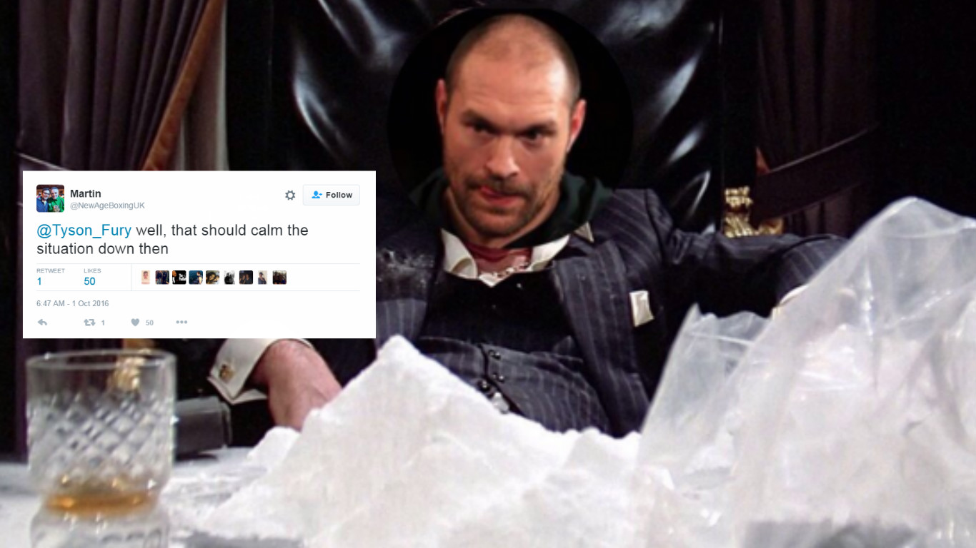 Boxing fans cannot believe what Tyson Fury tweeted in response to cocaine allegations