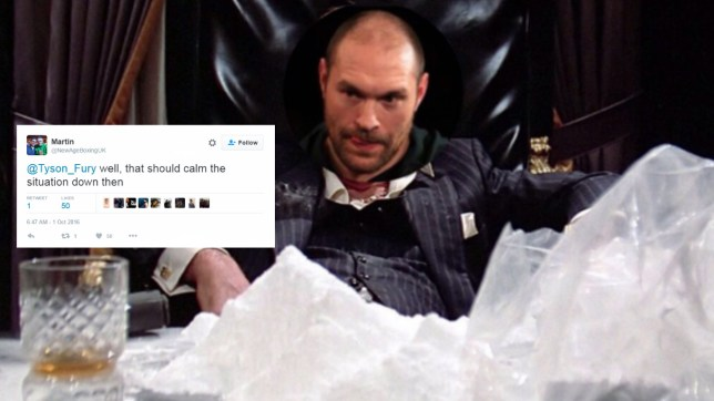 Tyson Fury tweeted this picture mocking the drug allegations (Picture: Tyson_Fury)