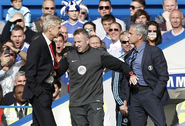 "Chelsea's Portuguese manager Jose Mourinho (R) and Arsenal's French manager Arsene Wenger (L) are kept apart by the fourth official Jonathan Moss during the English Premier League football match between Chelsea and Arsenal at Stamford Bridge in London on October 5, 2014. AFP PHOTO/ADRIAN DENNIS == RESTRICTED TO EDITORIAL USE. NO USE WITH UNAUTHORIZED AUDIO, VIDEO, DATA, FIXTURE LISTS, CLUB/LEAGUE LOGOS OR ""LIVE"" SERVICES. ONLINE IN-MATCH USE LIMITED TO 45 IMAGES, NO VIDEO EMULATION. NO USE IN BETTING, GAMES OR SINGLE CLUB/LEAGUE/PLAYER PUBLICATIONS. == (Photo credit should read ADRIAN DENNIS/AFP/Getty Images)"