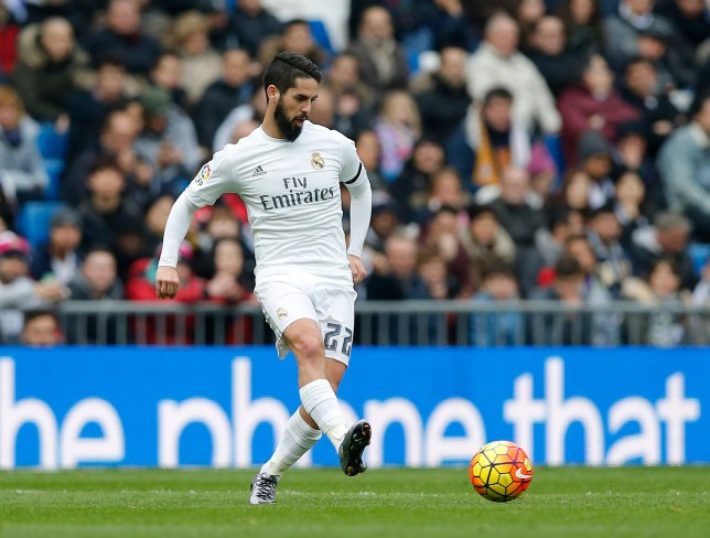 MADRID, SPAIN - JANUARY 17: (SPAIN OUT) Isco Alarcon of Real Madrid in action during the La Liga match between Real Madrid CF and Real Sporting Gijon at Estadio Santiago Bernabeu on January 17, 2016 in Madrid, Spain. (Photo by Helios de la Rubia/Real Madrid via Getty Images)