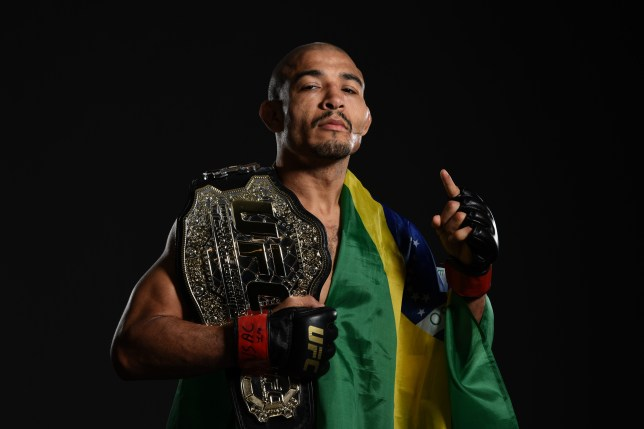 LAS VEGAS, NV - JULY 09: Jose Aldo of Brazil poses for a portrait backstage during the UFC 200 event on July 9, 2016 at T-Mobile Arena in Las Vegas, Nevada. (Photo by Mike Roach/Zuffa LLC/Zuffa LLC via Getty Images)