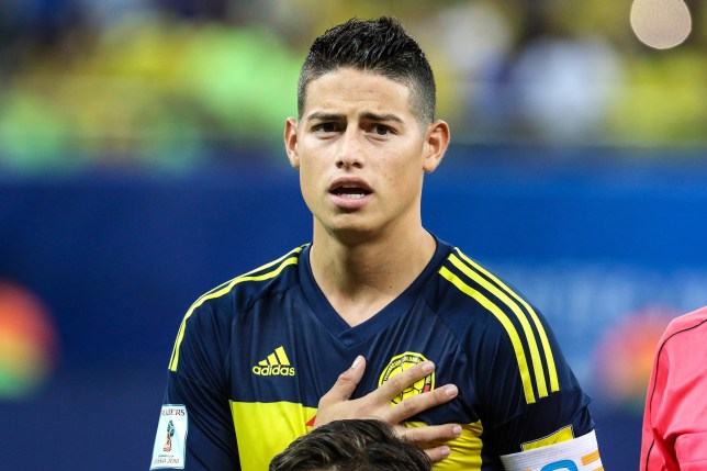 MANAOS, BRAZIL - SEPTEMBER 06: James Rodriguez of Colombia sings the national anthem during a match between Brazil and Colombia as part of FIFA 2018 World Cup Qualifiers at Arena Amazonia Stadium on September 06, 2016 in Manaos, Brazil. (Photo by William Volcov/LatinContent/Getty Images)