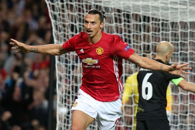 7f794190775 MANCHESTER, ENGLAND - SEPTEMBER 29: Zlatan Ibrahimovic of Manchester United  celebrates scoring their first