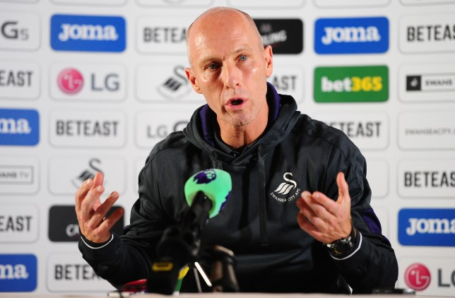 SWANSEA, UNITED KINGDOM - OCTOBER 7: Bob Bradley, Manager of Swansea City reacts as he addresses the media during his unveiling as New Swansea City Manager at the Marriott Hotel on October 7, 2016 in Swansea, Wales. (Photo by Harry Trump/Getty Images)