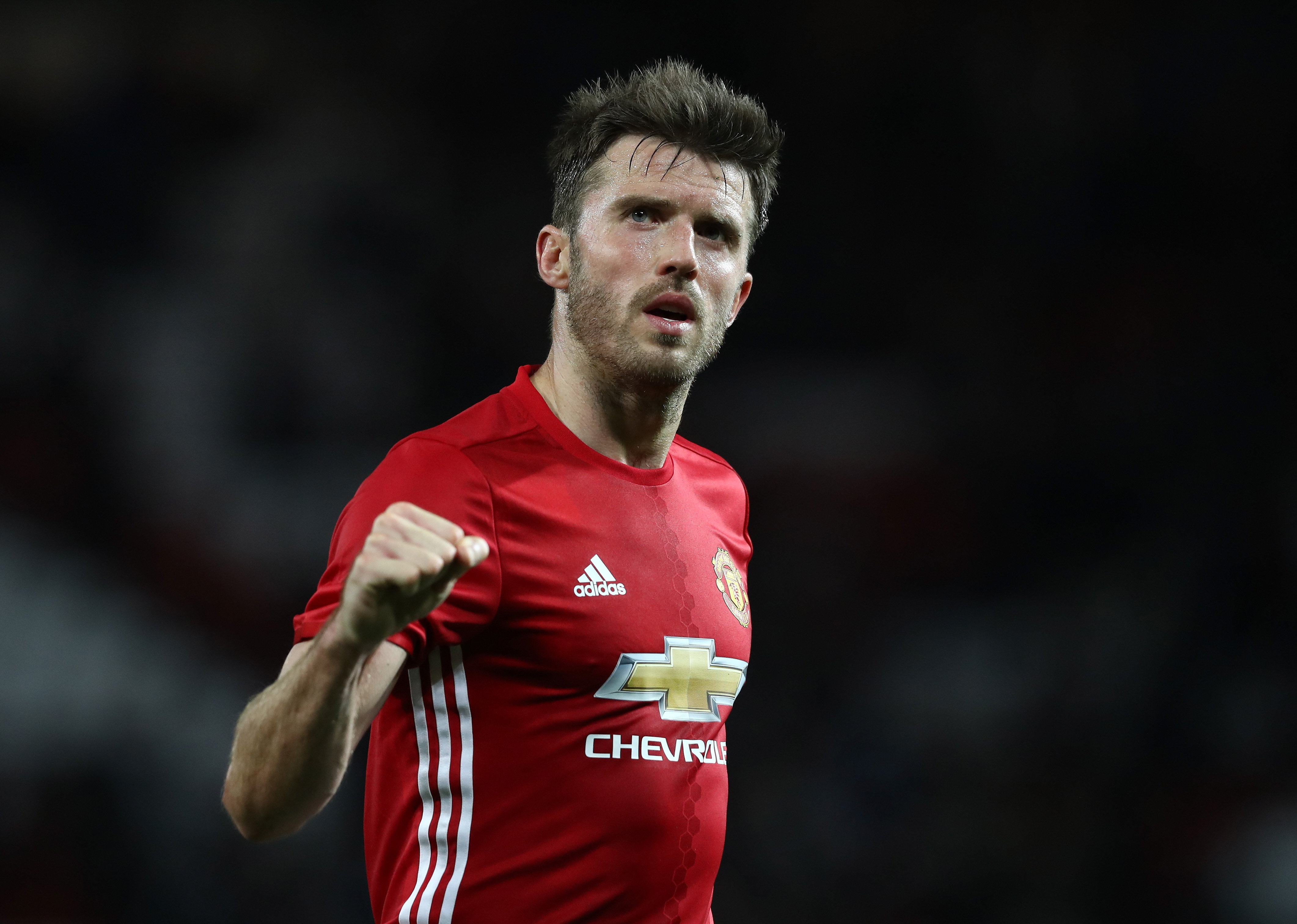MANCHESTER, ENGLAND - OCTOBER 26: Michael Carrick of Manchester United reacts to his side winning, after the final whistle during the EFL Cup fourth round match between Manchester United and Manchester City at Old Trafford on October 26, 2016 in Manchester, England. (Photo by David Rogers/Getty Images)