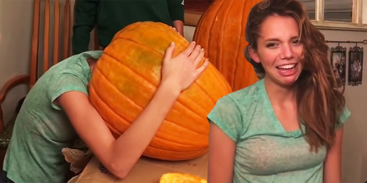This girl got her head stuck inside a pumpkin, and became a real life Jack 'o' lantern