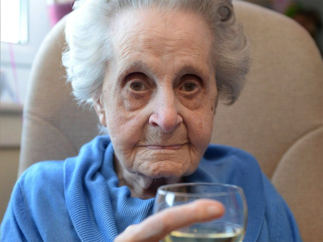 Pensioner celebrates 102nd birthday despite smoking 20 a day for 75 years credit: SWNS Maysie Strang, 102, of Glenvit Care Home, Glasgow, which claims drinking Chardonnay has given her a long life. See Centre Press story CPOLD; A hardy centenarian has reached the incredible age of 102 -- despite drinking and smoking. Maysie Strang smoked 20 cigarettes a day for 75 years, but quit in her mid-90s during a stint in hospital. But when she got home, she moved onto the Chardonnay. And despite her questionable habbits, the centenarian from Glasgow isn't on any medication