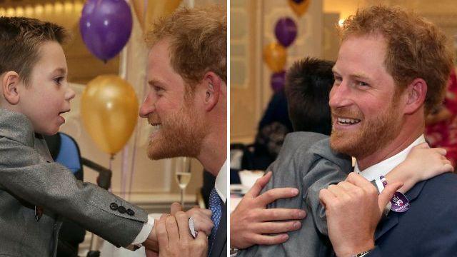 Prince Harry shares huge hug with terminally ill boy at moving award cermony