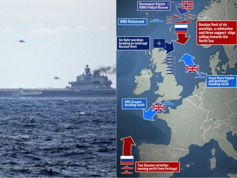 Huge Russian fleet seen heading through English Channel by Royal Navy