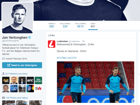 Jan Vertonghen likes tweet suggesting Manchester City overspent on defenders after Tottenham beat them 2-0