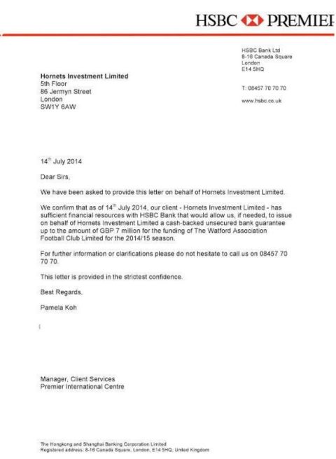 Watford FC face fine and points deduction after 'forged' HSBC letter