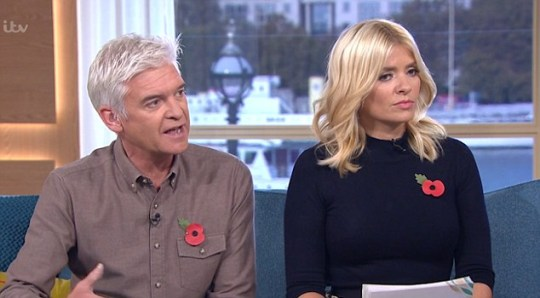Phillip Schofield believe presenters on The One Show were told not to ask Cheryl about her rumoured pregnancy (Picture: ITV)