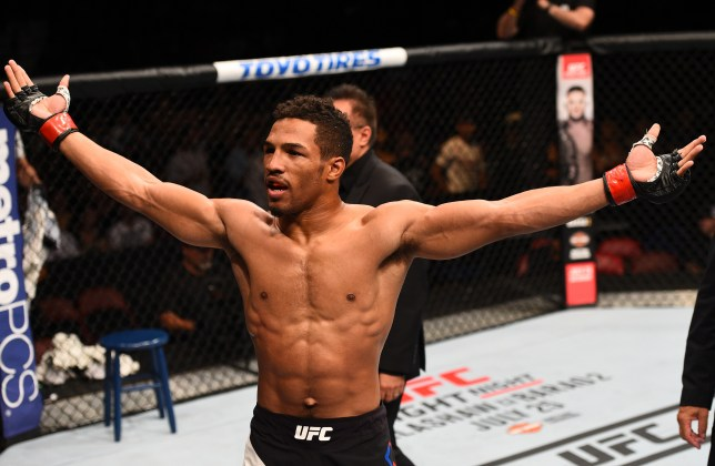 SAN DIEGO, CA - JULY 15: Kevin Lee celebrates his submission victory over James Moontasri in their lightweight bout during the UFC event at the Valley View Casino Center on July 15, 2015 in San Diego, California. (Photo by Jeff Bottari/Zuffa LLC/Zuffa LLC via Getty Images)
