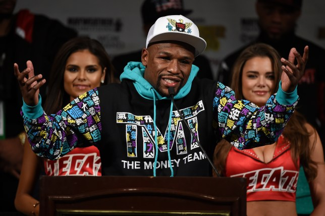 LAS VEGAS, NV - SEPTEMBER 12: Floyd Mayweather Jr. speaks during a post-fight news conference at MGM Grand Hotel & Casino after he retained his WBC/WBA welterweight titles in a unanimous-decision victory over Andre Berto on September 12, 2015 in Las Vegas, Nevada. (Photo by Ethan Miller/Getty Images)