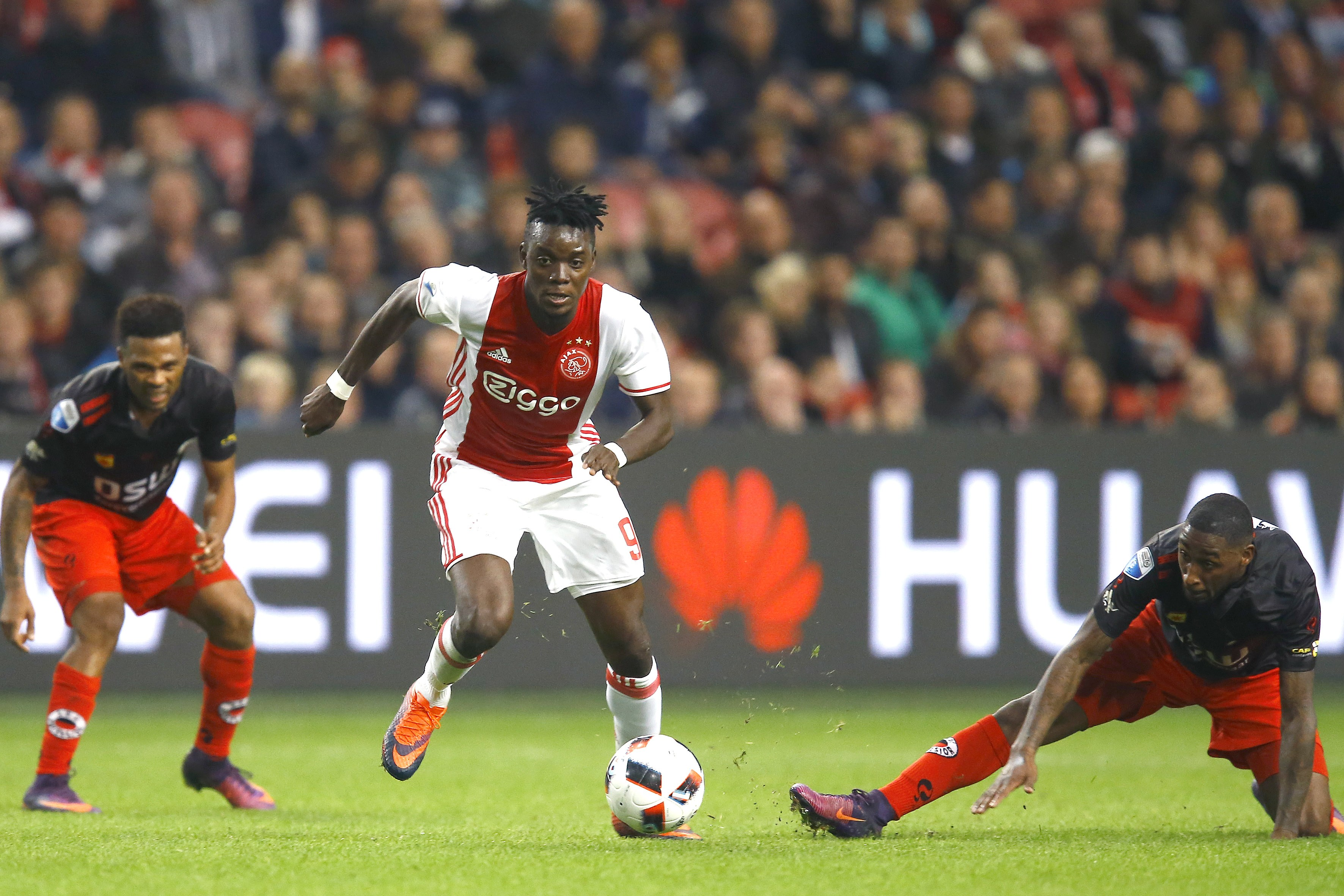 (l-r) Fredy Ribeiro of Excelsior, Bertrand Traore of Ajax Amsterdam, Jeffry Fortes of Excelsiorduring the Dutch Eredivisie match between Ajax Amsterdam and sbv Excelsior at the Amsterdam Arena on October 29, 2016 in Amsterdam, The Netherlands(Photo by VI Images via Getty Images)
