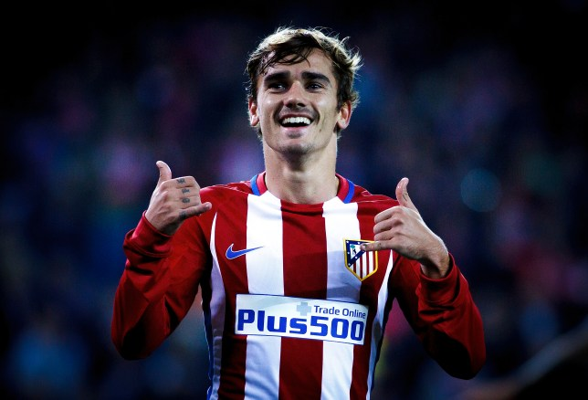 MADRID, SPAIN - NOVEMBER 1: Antoine Griezmann Celebrates a goal during the Champions League 2016/17 match between Atletico de Madrid and FC Rostov, at Vicente Calderon Stadium on November 1, 2016 in Madrid, Spain. (Photo by Guillermo Martinez/Corbis via Getty Images)