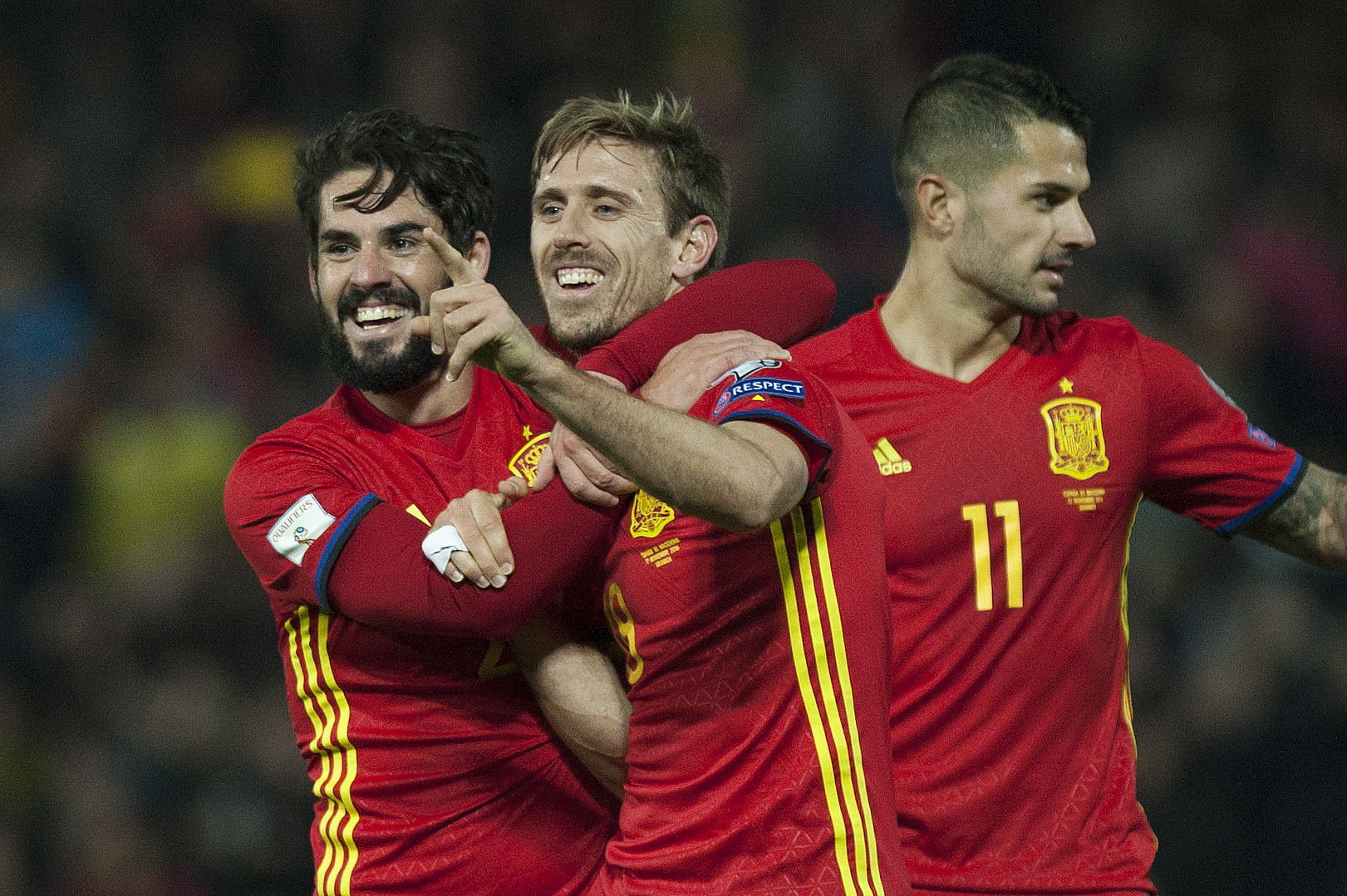 Arsenal star Nacho Monreal scores classy volley as Spain thump Macedonia 4-0