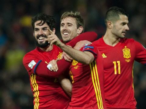 Arsenal star Nacho Monreal scores classy volley as Spain thump Macedonia 4-0