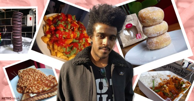 New fave vegan Instagrammer Afrofuzzz surrounded by all his favourite food